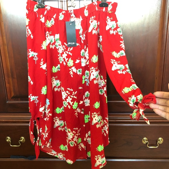 Nasty Gal Dresses & Skirts - Red floral off shoulder dress